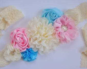 Pink & Blue Maternity Sash, Pregnancy Belly Band, Gender Reveal, Maternity Photo Prop, Lace Flower Sash, Baby Shower Outfit, Gender Neutral