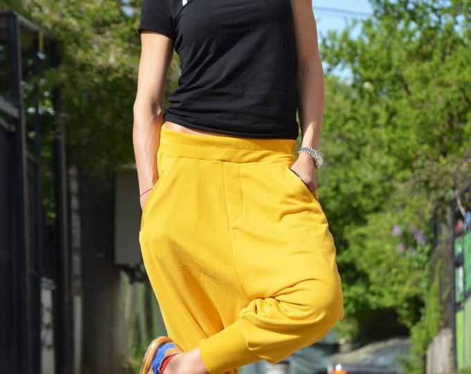 Extravagant Yellow Harem Pants, Drop Crotch Pants, Cotton Pants, Loose fit Trousers, Urban Casual Pants, Harem Pants by SSDfashion