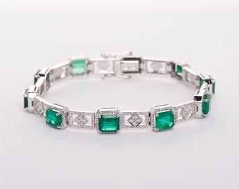 The Fiona - 18K Colombian Emerald and Diamond Bracelet
