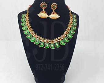 Meena Short Haram/Necklace with Kemp and pearls for Bharatnatyam, Kuchipudi, Parties, Engagement, Weddings, Birthdays etc..