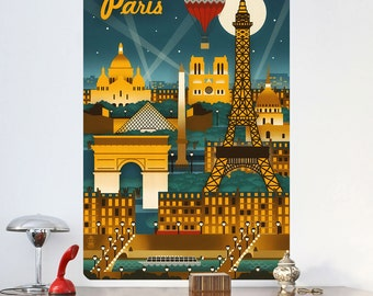 Paris City Nightlife Art Deco Wall Decal - #60666