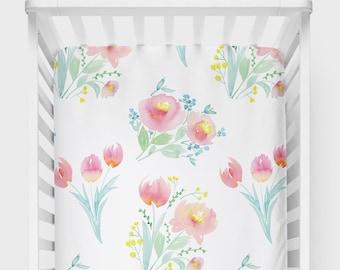 Nursery Crib Sheet, Floral Crib Sheet, Nursery Decor, Floral Nursery Design, Baby Crib Sheet, Crib Sheet Baby Shower Gift, Floral Baby Gift