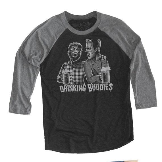 Horror Film Shirt - Wolfman and Frankenstein Drinking Buddies Hand Screen Printed on a Unisex Baseball Tee - Craft Beer Shirt