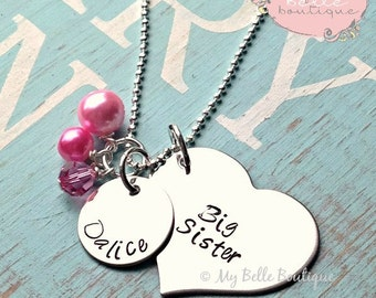 Hand Stamped Personalized Big Sister Necklace with Pink Swarovski and Acrylic Charms