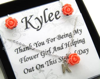 Flower Girl Gift Thank You For Being My Flower Girl Proposal Gift Idea Personalized Flower Girl Jewelry Set Will You Be My Flower Girl SET01