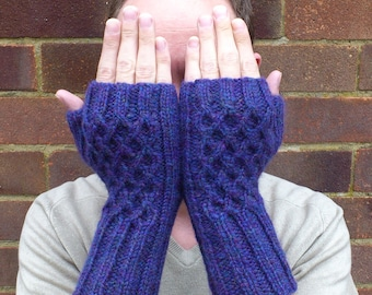 Handknit Weave Fingerless Gloves - finished product