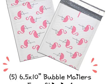 """FREE SHIPPING! (5) 6.5x10"""" Pink Flamingo Designer Bubble Mailers"""