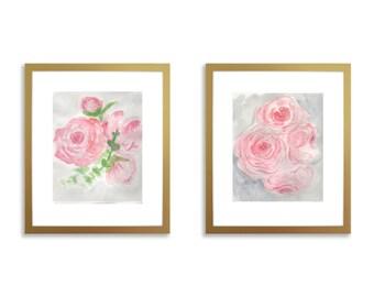 Set of two prints, nursery wall art set of two, peony nursery, watercolor peony, nursery peony, girl nursery art, girl nursery ideas