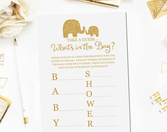 Whatu0027s In The Bag Baby Shower Game, Baby Shower Game Printable, Gold  Elephant Baby Shower Games, Whatu0027s In The Bag Game Instant Download BB5