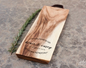 Personalised Chopping Board Laser Engraved Acacia Wood Leather Handle Cheese Engagement Wedding Present for the Kitchen | Rosie Tea Studio