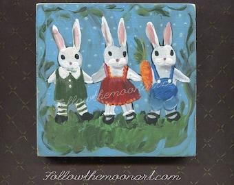 3 Little Bunnies Folk Art Rabbit Folk Art Painting