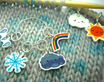Weather Stitch Marker set of 6, cute stitch markers, lightweight, knitting