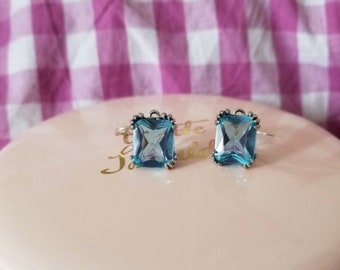 Aquamarine sterling silver 925 vintage style earrings
