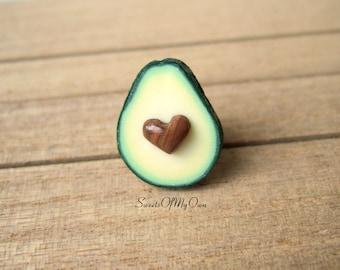Avocado Pin - Avocado Heart - Avocado Brooch - Food Brooch - Lapel Pin - Food Pin - Handmade in UK with Polymer Clay