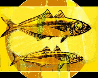 Yellow Fish Art, Abstract Realism, Aquatic Nautical, Swimming Wildlife, Wall Hanging, Cabin Home Decor, Wall Hanging, Giclee Print, 8 x 8