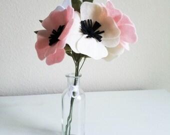 Anemone Felt Flower Bouquet - Felt Bridal Bouquet, Bridesmaid Bouquet