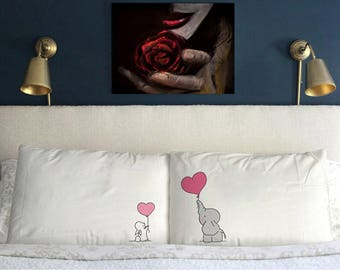 Elephant bunny Love Pillow Case Valentine's day