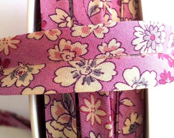 1 meter of floral liberty fabric - purple and beige - 20 mm flat