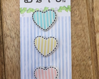 """Heart Buttons,  Carded Novelty Buttons by Buttons Galore, """"Hearts"""" Style BZ131, Carded Set of 3 Heart Buttons, 3 Colors Styles, Shank Back"""