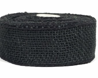 "2"" Wired Jute Burlap Ribbon - Black - 10 Yards"