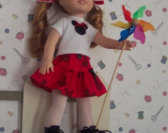 """Fits Wellie Wishers """"Willa"""" a handmade Mickey mouse outfit.    one of American Girls newest dolls.  Handmade Mickey Mouse Disney outfit."""