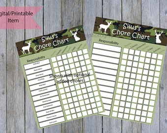 Printable chore chart, customizable, boys chore chart, dry erase chore chart, camo, teen chore chart, kids chore chart, responsibility chart