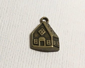 House Charms x 4 Bronze Pendant Family Home Jewellery Z204
