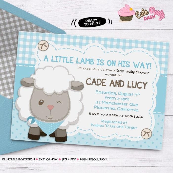 Boys Little Lamb Baby Shower invitation boys Sheep Baby Shower