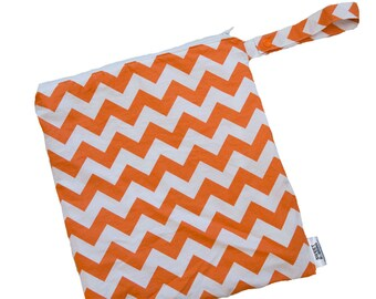 Chevron - Orange - 10x10 Sweet Bobbins Wet Bag - SEAM SEALED - Snap Strap