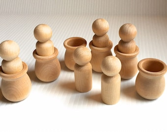 Set of 6 Wooden People with Bean pots - DIY Peg People projects