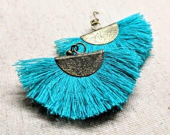 Aqua Tassel Earrings / Brass Tone Fan Tassel Earrings / Faux Brass Earrings / Blue Green Tassel Earrings / Bronze Tone Earrings