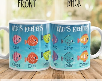 Personalized Dad's keepers Father's day gift, fisherman father's day gift, fisherman mug, fisherman family Mug, grandpa's mug