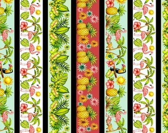 Flamingo Fabric - Striped Tropical Flamingos Pink Lady by Karen Embry for Blank Quilting - 8492 16 - Priced by the Half yard