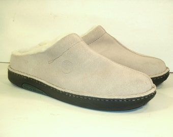 Polo Sport Suede Clogs Shearling Lined Beige Cream Tan Leather Rubber Sole Slip On Flats Ralph Lauren Designer Shoes Women's US Size 7.5