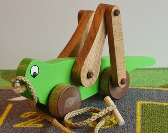 Toy Grasshopper Pull Toy - Lime Green -  Handcrafted wooden lime green grasshopper pull toy - Grasshopper pull toy - nursery decor - Easter
