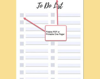 To Do Checklist List - Daily To Do List- Fillable Editable PDF Printable Checklist Master