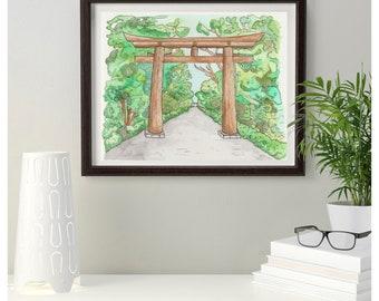 Meiji Shrine | Japan | Tokyo | watercolour painting | Landscape | Nature | Home Decor