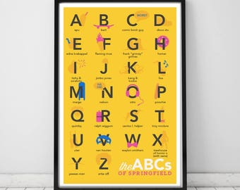 The Simpsons Alphabet Print | 11x17 | ABCs of Springfield Unframed