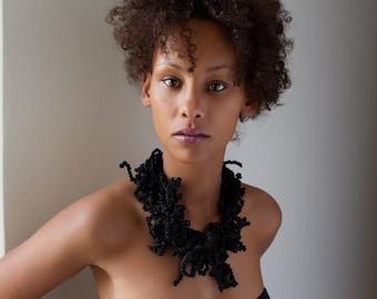 Black necklace - bold jewellery, designer collar - unique piece of the Queen- Kokket - Kollektion