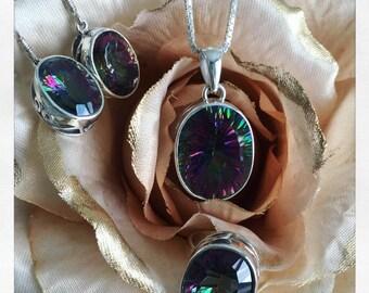 Genuine Mystic Topaz Gemstone // Sterling Silver Jewelry // Sterling Silver Jewelry Set // Gifts for Her