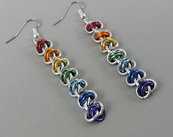 Rainbow Chainmaille Earrings, Chainmail Earrings, Long Earrings, LGBT, Gay Pride Earrings, Pride Jewelry, Barrel Weave