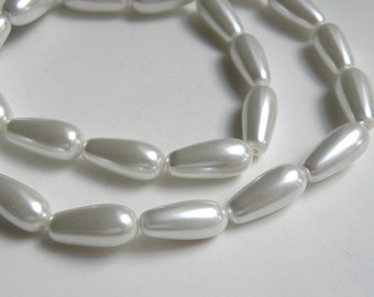 White glass pearl teardrop pendant bead 17x8mm full strand 2065GL