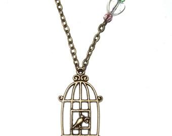 Vintage Style Bronze Birdcage Pendant, Birdcage Necklace, Decorative Birdcage Jewelry, Birdcage Pendant, Bird Jewelry, Bird Cage Necklace