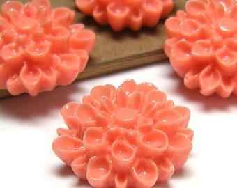 Coral Salmon - Vintage, Lucite Plastic, Coral Salmon, Dahlia Cabochons 16mm - Pc 4