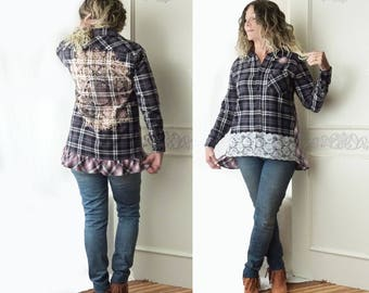 Womens flannel shirt with lace, black purple plaid, M - L, Boho top, country chic, bleach out mandala, boyfriend shirt, FREE SHIPPING