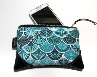 Mini Deco Mermaid x Black Multi Color Zipper Pouch / Mini Clutch with inside lining and Zipper Pull or Leather Wristlet Strap