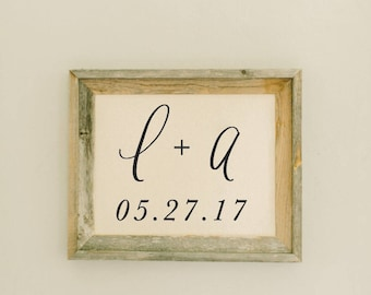 Personalized Barn Wood Framed Print - Two Initials and Date