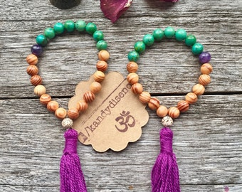 Mother Daughter bracelets, Mother Daughter Gift, Set of 2 Matching Mala bracelets, Energy Tassel bracelets. Agate Amethyst wood | RaMaDaSa |