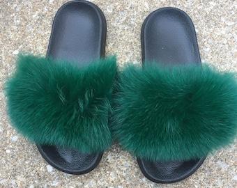 Forest green fur slides