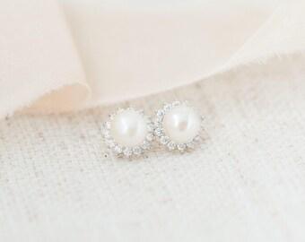 Bridal Earrings Studs, Freshwater Pearl Studs, Bridal Stud Earrings, Bridal Earrings